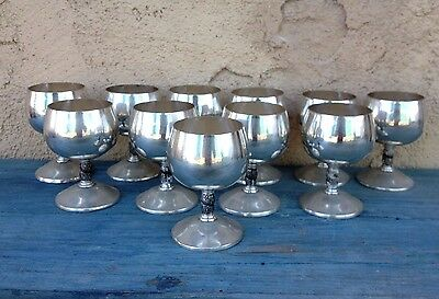 Set (10) Beautiful Silver Plated Cognac Cups Goblets, Visiuc Made In Spain