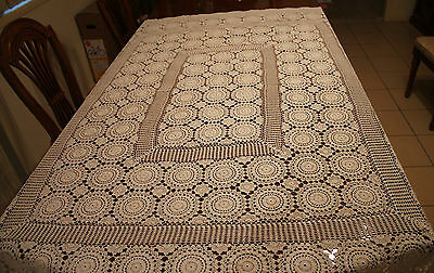 Vintage White Rectangle Crochet Tablecloth