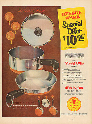 1956 vintage AD REVERE WARE Copper clad Stainless steel cookware  012217