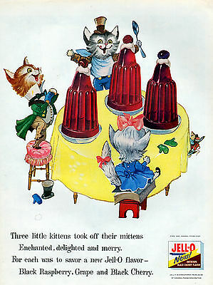 1956 Jell-O  ad ---3 Little Kittens--0-759