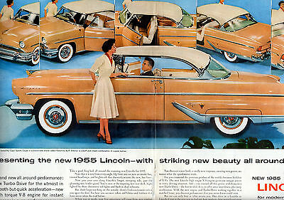 1955 Lincoln 2 page centerfold car ad --567
