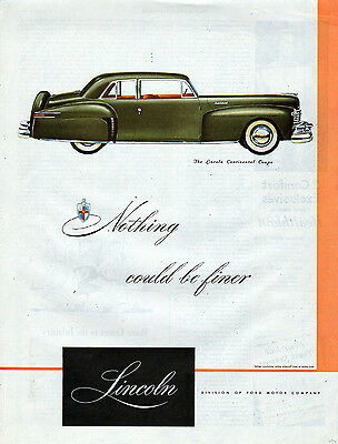 1947 Lincoln Car Ad --Lincoln Continenal Coupe-x330