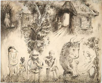 Tale of Tales Y.Norstein's animation Signed Giclée (Fisherman, Poet, Ox)