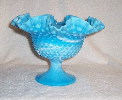 Fenton Art Glass Blue Marble  Hobnail Slag Glass Large Footed Compote 1970
