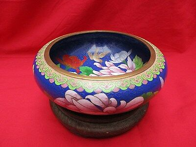 Cloisonne bowl ,WITH WOODEN STAND ,Asian Brass & Enamel Bowl