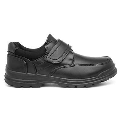 Boys Black Back To School Shoes Touch Strap Smart Kids Junior Childrens Shoes