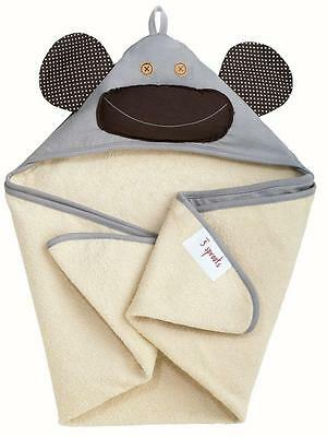 """3 Sprouts Infant Hooded Towel 100% Cotton 30""""x30"""", Gray Monkey, Free Shipping"""