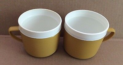 Vintage ROYAL SATIN Therm-O-Ware Yellow Coffee Mugs Cups - Unbreakable Lot of 2