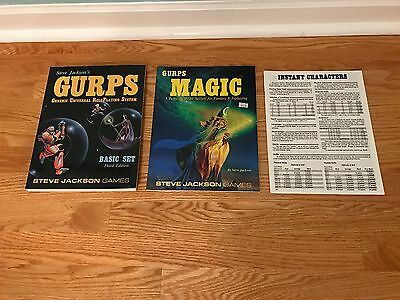 GURPS Basic Set 3rd Third Edition & GURPS Magic & Instant Characters Sheet NM