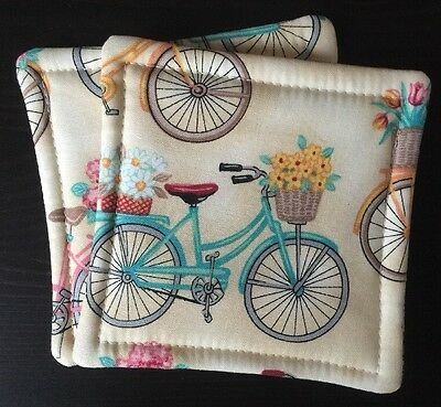 Set of 2 Reversible Absorbent Fabric Coasters  Vintage Bicycles Baskets Flowers