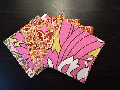 Set of 6 Absorbent Reversible Fabric Coasters Amy Butler Pinks Great Vintage Bar