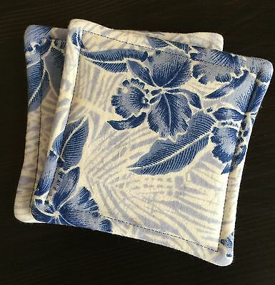 Set of 2 Reversible Absorbent Fabric Coasters Blue and White Hawaiian Toile New