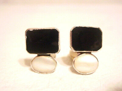 Rebecca Collins Dallas Sterling Black Gemstone Pearl Clip Earrings Signed
