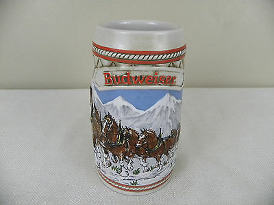 Budweiser Clydesdales 1985 Christmas Holiday Mug Beer Stein A Series Handcrafted