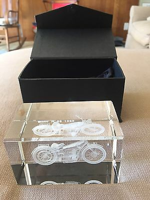 1923 BMW Motorcycle R-32 3D Laser Etched Glass Sculpture Paperweight Crystal