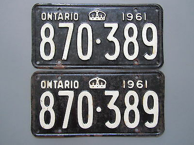 1961 Ontario License / Licence Plates (Pair) - 870389