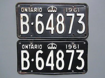 1961 Ontario License / Licence Plates (Pair) - B64873