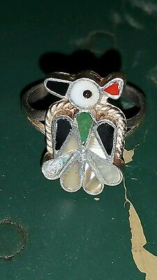 zuni Native 6.75  Thunderbird sterling Turquoise Coral onyx