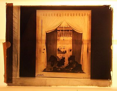 Vintage Glass Negative Slide - Creepy Dolls Toy Baby Carriage - Kaufmann Faory