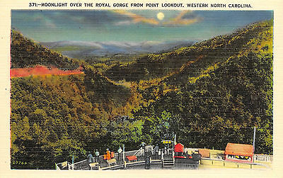 North Carolina NC Western Point Lookout Royal Gorge Moonlight Postcard Old View