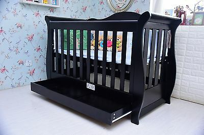 New Sleigh Baby Cot Crib Furniture Toddler Bed Drawer Mattress Package Espresso