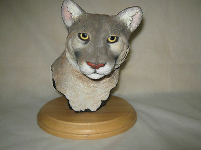 """Cougar Bust (HEAVY STONE) Realistic """"Hand Crafted""""   USA"""