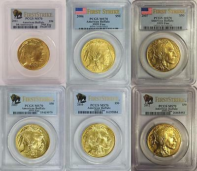 2006 2007 2009 2010 2011 2012 Gold Buffalo Pcgs Ms70 First Strike $50 6 Coin Set