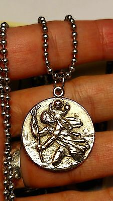 Vintage Saint Christopher Brass French Religious Medal Necklace Steel Chain