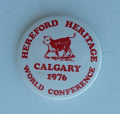 Calgary 1976 Hereford Heritage World Conference Lapel Pin Button
