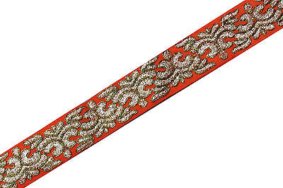 Indian Embroidered Prom Dress Border 1 YD Trim Orange Craft Lace COLLECTIBLE