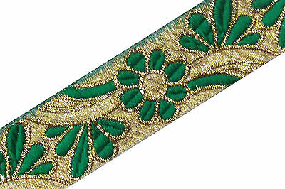 "1.5"" Wide New Indian Jacquard Green Ribbon Trim Floral Craft Design Border 1Y"
