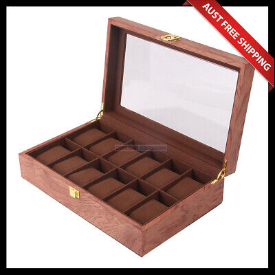 Hampton Glass Top Wooden Watch Box ,With Felt Lining, For 12 Watches, Brown Col