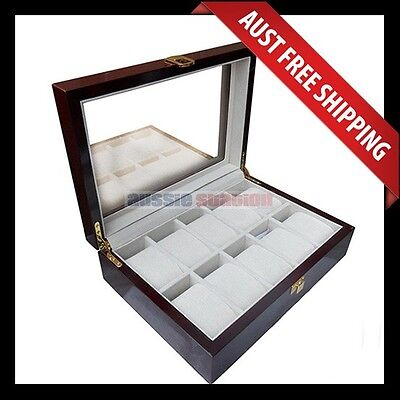 Ascot Vale Glass Top Wooden Watch Box, With Felt Lining, For 10 Watches