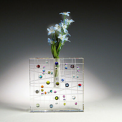 """Crystal Glass Budvase """"ENTANGLEMENT"""" with Swarovski Crystals by Ray Lapsys"""