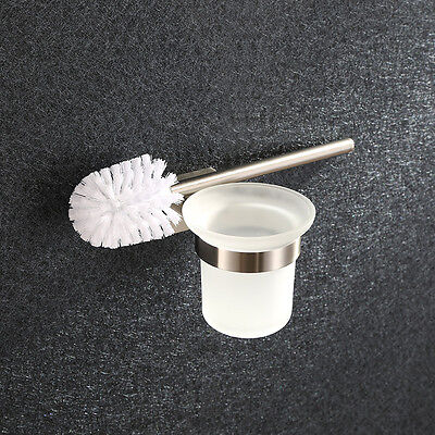 Toilet Brushes Holder SET Glass Round Cup Wall Mount Bathroom Accessories SS304