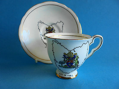 City Of Hobart Coat Of Arms Map Of Tasmania Cup Saucer Royal Stafford Like New