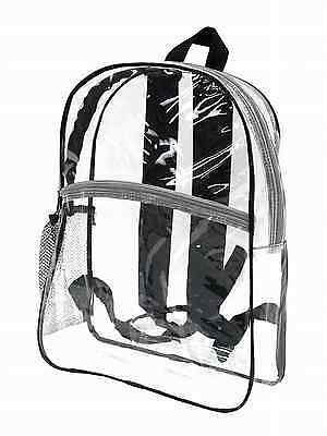 Clear Backpack See Through School Bag Black Transparent Pvc Plastic Travel NEW