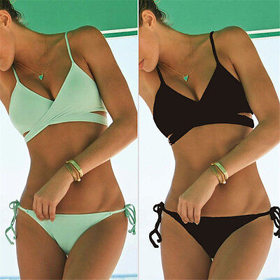 Women Push Up Padded Bra Bandage Bikini Set Swimsuit Triangle Swimwear BathingJB