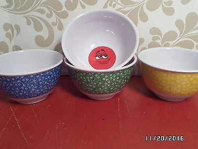 M & M's Cereal Bowls - Snacks or Candy or Soup Bowls - Qty 4 - Mars, Inc. - 2009