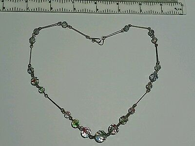 Antique Suffragette Rolled Gold Wire Glass Bead Necklace ideal Valentines presen