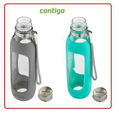 Contigo New Stylish Purity Glass Water Hydro Bottle BPA Free Mug 591ml Jade Smok