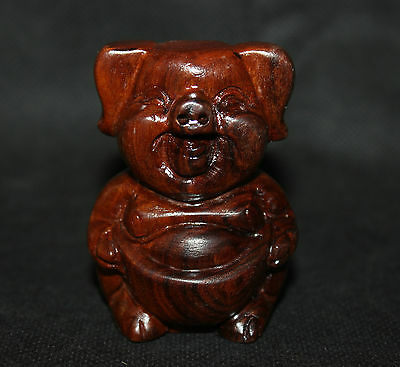 60mm Chinese 100% Pure Natural Wood Hand-carved Lucky Zodiac Pig Yuan Bao Statue