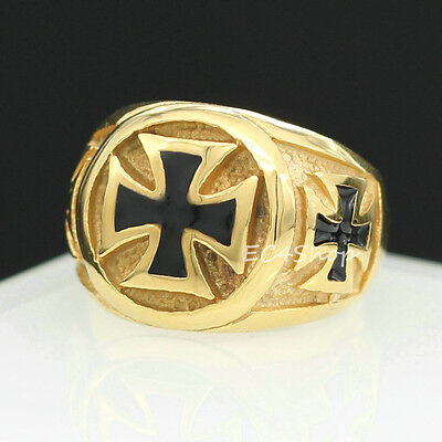 Gold Tone Stainless Steel Templar Iron Cross Biker Ring German Men's Patty Band