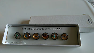 Set Of Six Buff Coloured Guinness Buttons Boxed