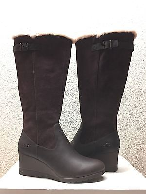 05caf070f51 UGG MISCHA STOUT Suede Sheepskin Tall Wedge Zip Boots Size Us 8/uk ...