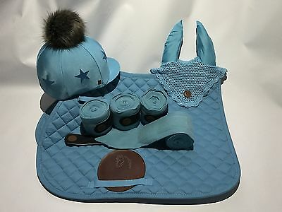 Teal Set Faux Fur Pom Pom Riding Hat Cover Silk Equestrian Eventing