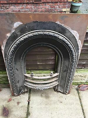 Reclaimed Victorian Cast Iron Fireplace Arch Insert Antique Salvaged Vintage