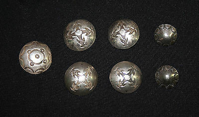 Vintage and Rare 1930's Silver Roadrunner Navajo Stamped Buttons