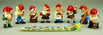 Kinder Surprise Full Set of 8 Gnomes At Work 1992 with Paper D97
