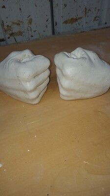 2 Latex Craft Moulds For Pair of Clasped Hands Fists Candle Holder Art & Crafts